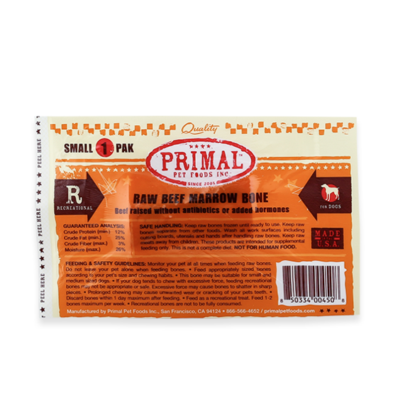 Raw Beef Marrow Recreational Bones for Dogs and Cats, Small-package