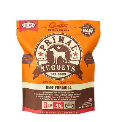 Raw Frozen Canine Beef Nuggets Formula Food for Dogs