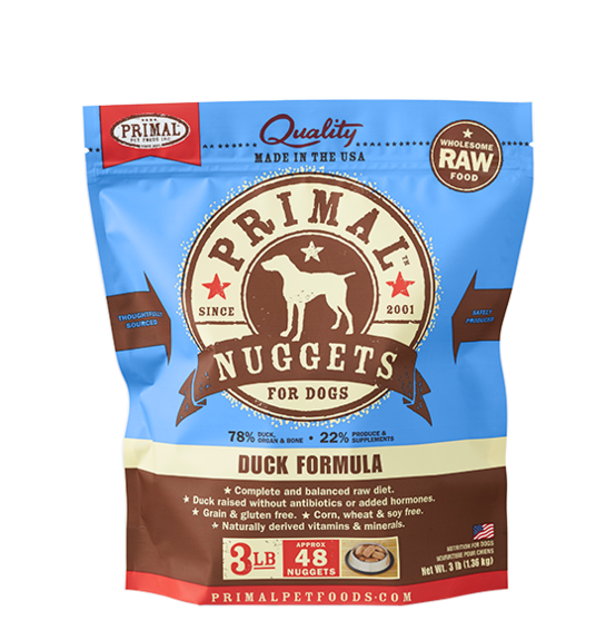 Primal Pet Foods Raw Frozen Canine Duck Nuggets Formula