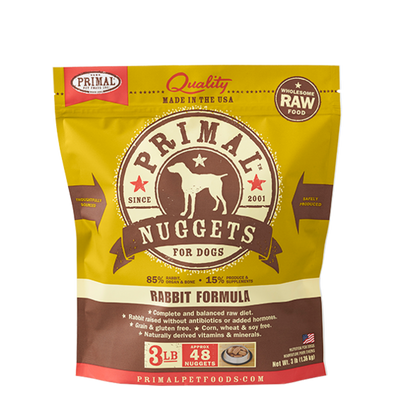 Primal Pet Foods Raw Frozen Canine Rabbit Nuggets Formula-front of package
