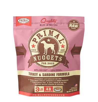 Barking Dog Bakery and Food-Primal Pet Foods Raw Frozen Canine Turkey and Sardine Formula