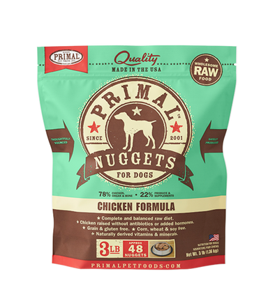 Primal Pet Foods Raw Frozen Canine Chicken Nuggets Formula, front of green pack