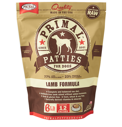 Primal Pet Foods Raw Frozen Canine Lamb Patties Formula-Front Brown Package