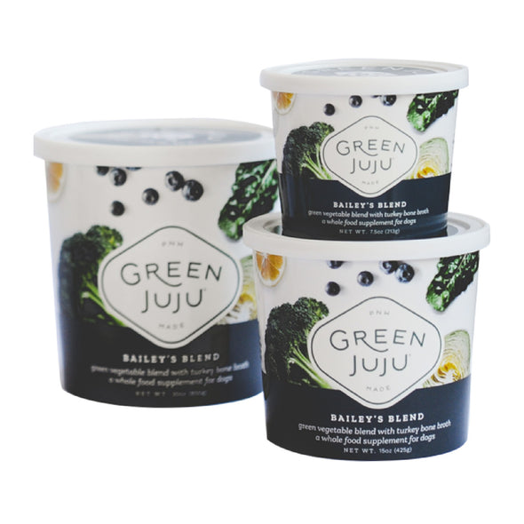 Green Juju™ Bailey's Blend Raw Supplement for Dogs, front of container