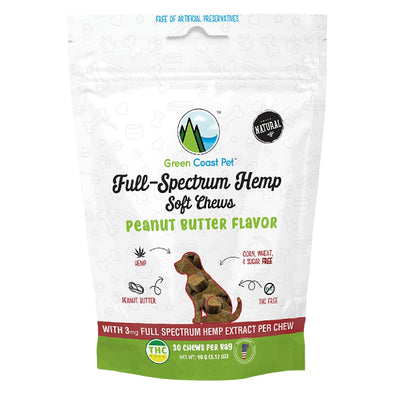 Full-Spectrum Hemp Peanut Butter Soft Chews for Dogs, front of resealable bag