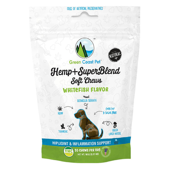 Green Coast Pet Whitefish Flavored Hemp + SuperBlend Soft Chews for Dogs