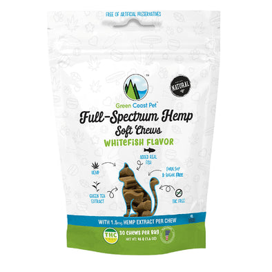 Green Coast Full-Spectrum Whitefish Flavor Soft Chews for Cats
