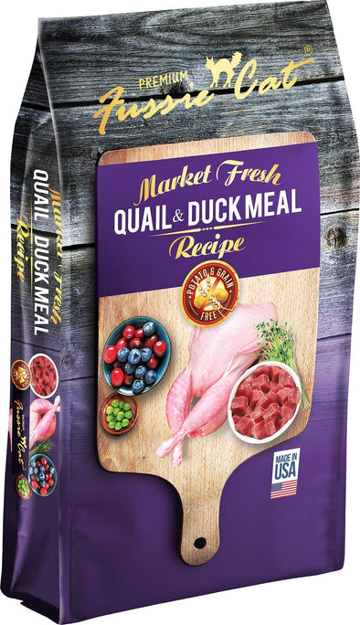 Fussie Cat Market Fresh Quail & Duck Cat Dry Food, front of package