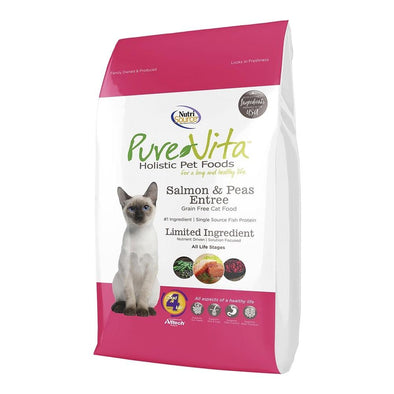 PureVita Brand Grain Free Salmon Dry Cat Food Entree, front of package