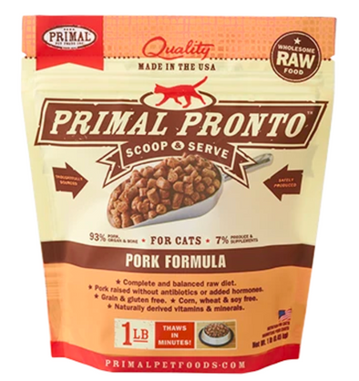 Primal Raw Frozen Pork Pronto Formula for cats
