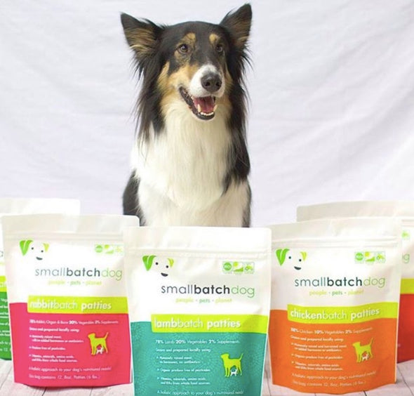 Small Batch Freeze Dried Chicken Dog Food, dog poses with different flavors