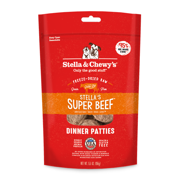 Stella Super Beef Freeze Dried Raw Dinner Patties for Dogs