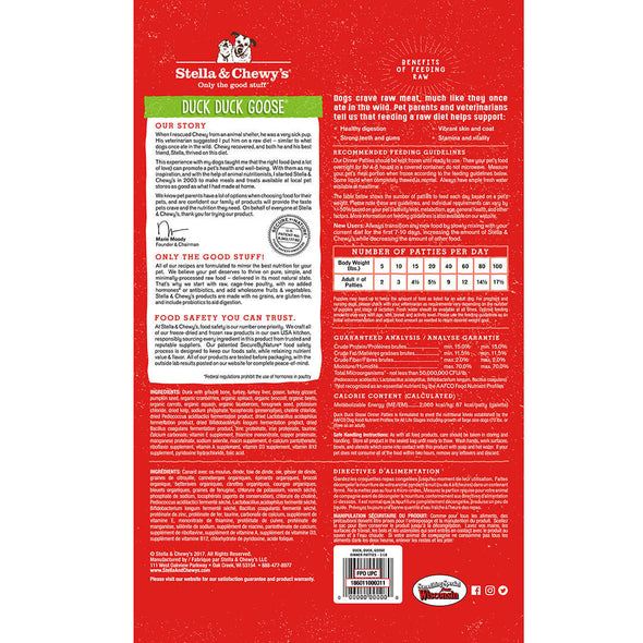 Duck Duck Goose Frozen Raw Dinner Patties for Dogs by Stella and Chewy's-Back of package