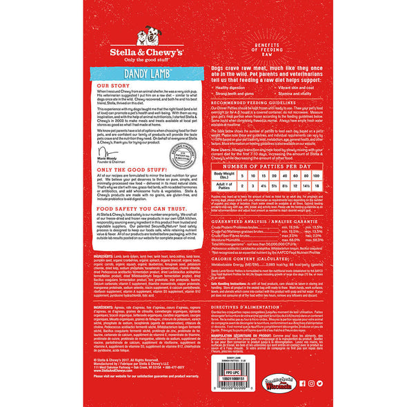 Dandy Lamb Frozen Raw Dinner Patties for Dogs by Stella and Chewy's, back red package
