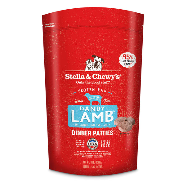 Dandy Lamb Frozen Raw Dinner Patties for Dogs by Stella and Chewy's-front red package