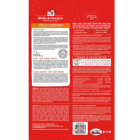 Super Beef Frozen Raw Dinner Patties for Dogs, back of red package, at Barking Dog Bakery & Feed