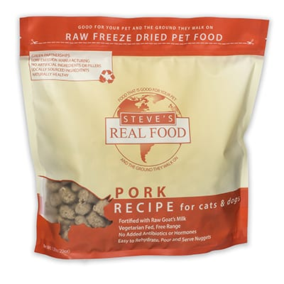 Steve's Real Food Pork Freeze Dried Dog Food Diet, front of bag