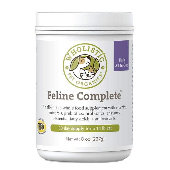 Wholistic Feline Complete Cat Supplement by Wholistic Pet Organics, front of jar