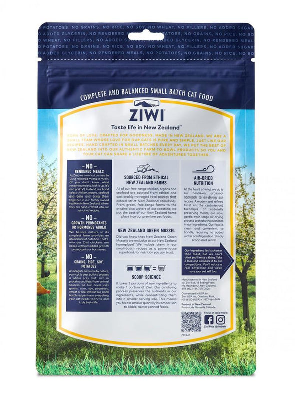 ZIWI Air-Dried Free-Range Chicken Recipe for Cats, back of package