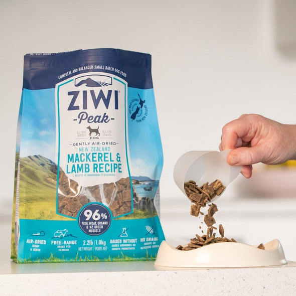 Ziwi Air-Dried Mackerel & Lamb Recipe Food for Dogs, food and bowl