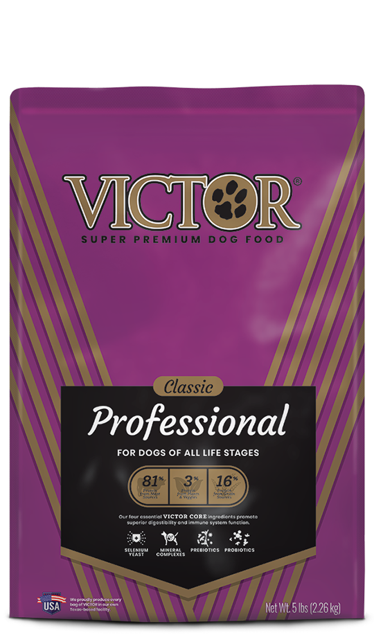 VICTOR Professional Dry Food for Dogs of All Stages, front of bag-purple