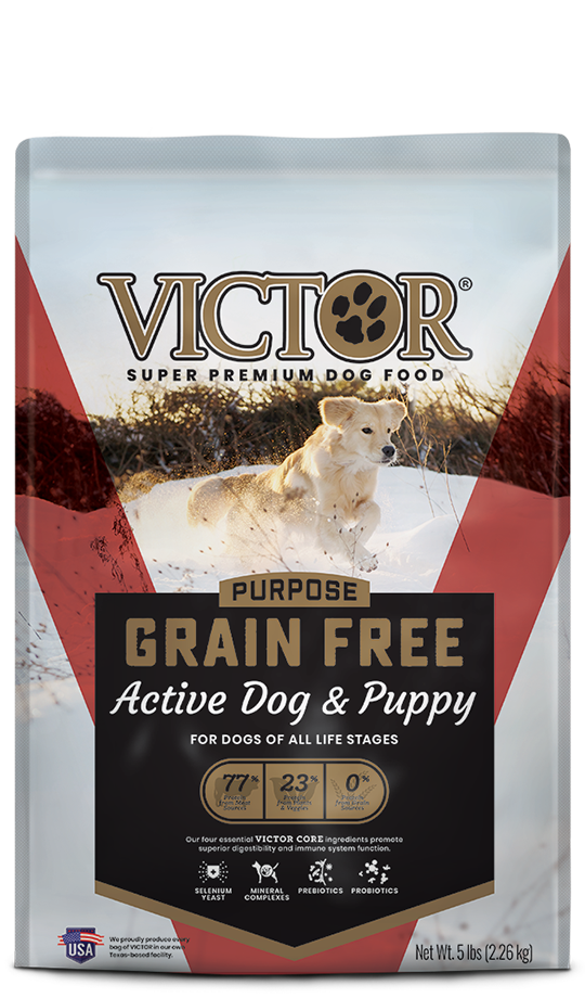 VICTOR Grain Free Active Dog & Puppy Dry Food, front of bag