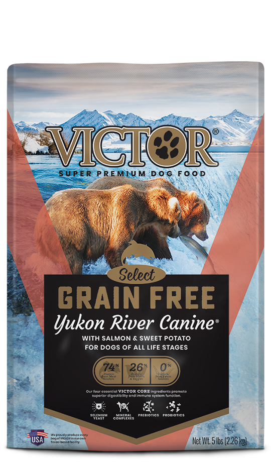 VICTOR Grain Free Yukon River Canine¨ Dry Food, front of bag