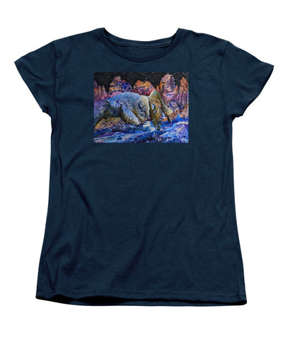 Badlands, Two Buffalo Play Fighting - Women's T-Shirt (Standard Fit)