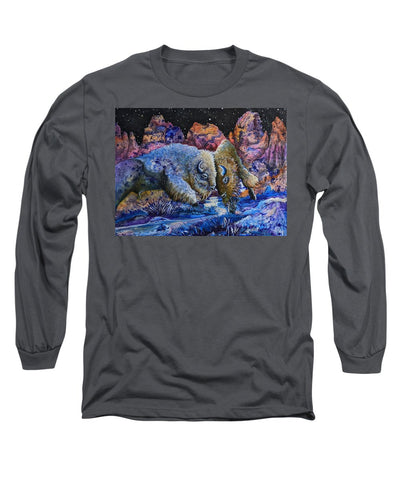 Badlands, Two Buffalo Play Fighting - Long Sleeve T-Shirt