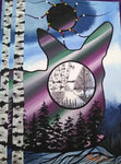 The Deer at Northern Lights, Indigenous Painting, Acrylic and Ink-work on Canvas