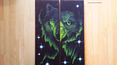Wolf & Eagle, Fluorescent Native Canadian Painting, Acrylic on Canvas (Set of 2)