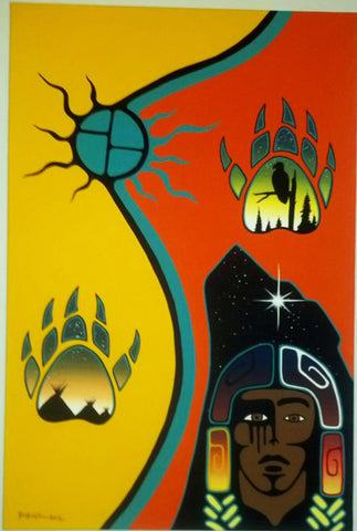 Bear Clan, Native Canadian Painting, Acrylic on Canvas
