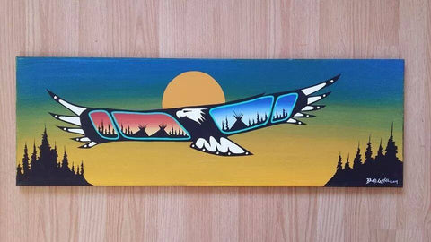 """Sunrise & Sunset"", Eagle, Indigenous Painting, Acrylic on Canvas"