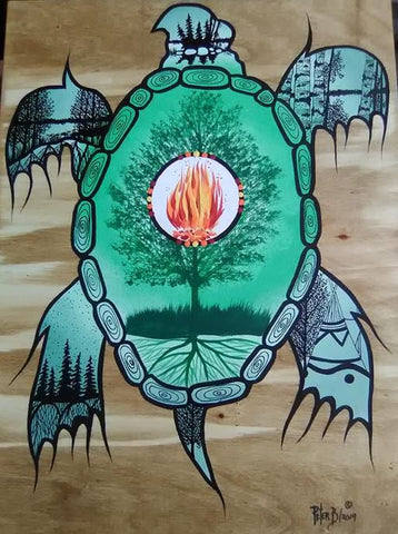 The Turtle and The Tree of Life, Indigenous Painting, Acrylic and Ink-work on Board Panel
