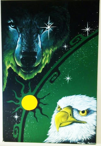 Eagle, Fluorescent Indigenous Painting, Acrylic on Canvas