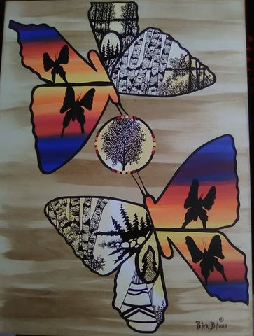 The Pair of Butterflies, Indigenous Painting, Acrylic and Ink on Canvas