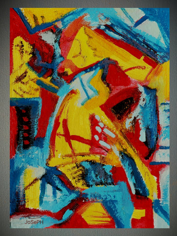 """BLUE, YELLOW, RED"", Native Canadian , Original Acrylic on Paper"