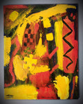 """RED, YELLOW & PUZZLE"", Original Native Canadian Painting, Acrylic on Paper"
