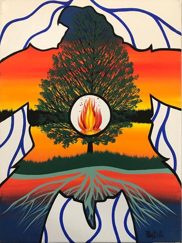 The Swimming Turtle and the Tree of Life, Indigenous Painting, Acrylic on Canvas