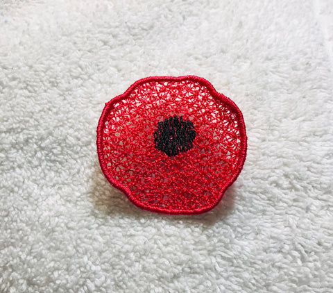 Embroidered Poppy Pin