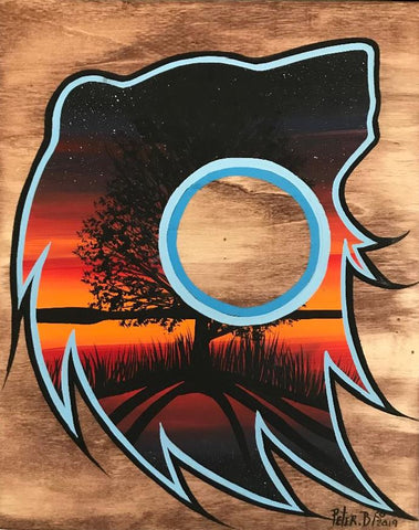 The Bear Spirit by the Water, Indigenous Painting, Acrylic and Ink-work on Board Panel