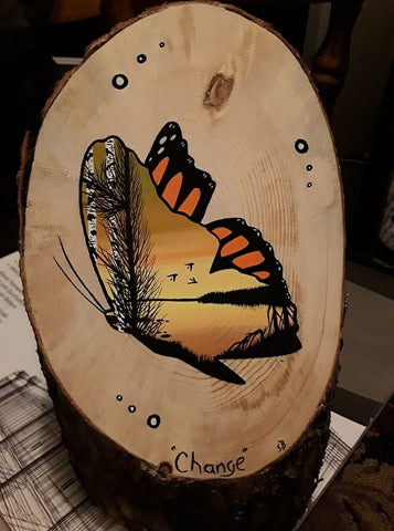 """Change"" Butterfly Painting on Wood"