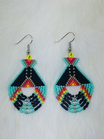 Colorful Native Beaded Teepee Earrings