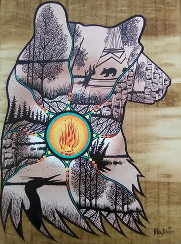 The Bear's Journey, Indigenous Painting, Acrylic and Ink-work on Board Panel