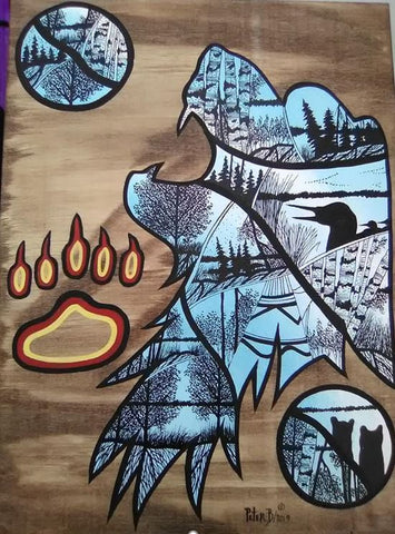 The Bear - The Strength, Indigenous Painting, Acrylic and Ink-work on Board Panel