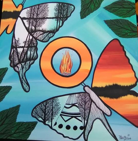 The Butterflies' Couple, Indigenous Painting, Acrylic and Ink-work on Canvas