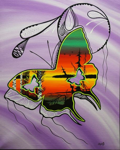 The Purple Butterfly, Indigenous Painting, Acrylic on Canvas