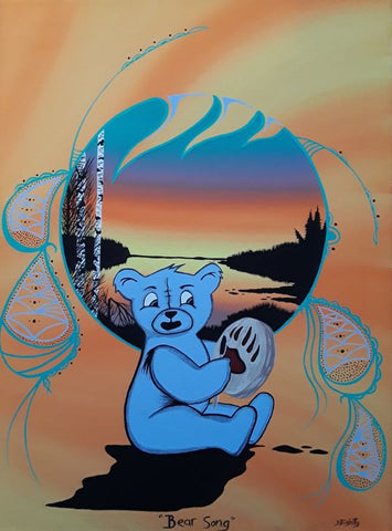 The Bear Song, Indigenous Painting, Acrylic on Canvas
