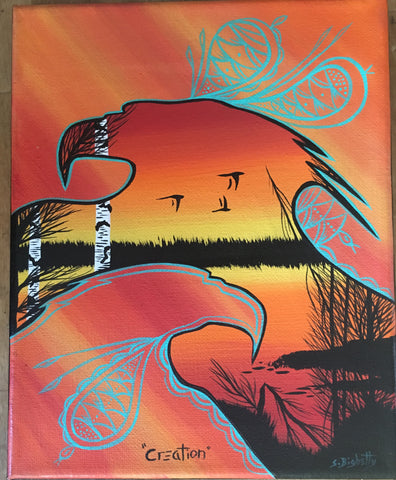 Creation, Eagle, Indigenous Painting, Acrylic on Canvas