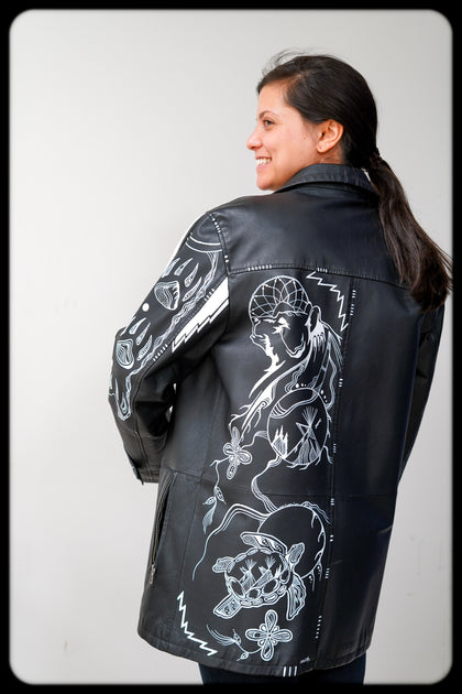 Hand Painted Leather Jacket, the Bear & the Turtle